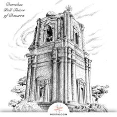 The domeless belfry of Bacarra, Ilocos Norte. Drawn by Northloom's founder. Ilocos, Old Churches, Notre Dame, Philippines, Spanish, Island, Building, Travel, Norte