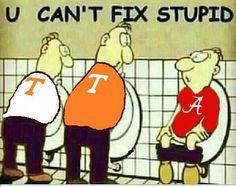 Can't fix stupid. Tennessee Volunteers Football, Crimson Tide Football, Patriots Football, Alabama Football, Alabama Crimson Tide, Tennessee Football Memes, Alabama Score, Tennesse Volunteers, Tennessee Game