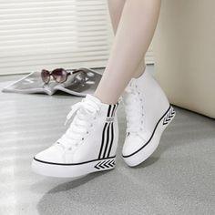 Giày thể thao nữ cao cổ giấu đế, kiểu dáng thời trang, mẫu Hàn Quốc