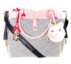 Betsey Johnson Betsey Baby Roll Out Diaper Bag Tote & Cute Pacifier Case  Set NWT
