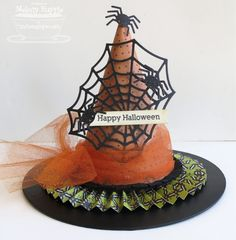 Halloween decoration from a paper maché witch's hat.