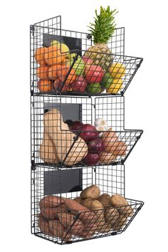 Saratoga Home Premium Wall Mounted Hanging Wire Baskets with Chalkboards High-Grade Black Iron - Fruit or Produce Storage - Pantry Organization - Rustic Country-Style Black Wire Basket, Wire Fruit Basket, Hanging Wire Basket, Hanging Fruit Baskets, Wire Baskets, Baskets On Wall, Wall Basket, Fruits Basket, Produce Baskets