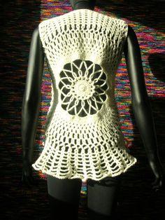 #Ice Queen Bridal Crochet Vest #crochet #flower #vest #waistcoat #bridal  Crochet Jacket #2dayslook #fashion #nice #CrochetJacket  www.2dayslook.com