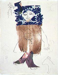Marc Chagall (1887 - 1985)  Costume 1941 - 1943 Encre, aquarelle, pastel, papiers, tissu collés sur papier 32,1 x 25,2 cm. Centre Pompidou