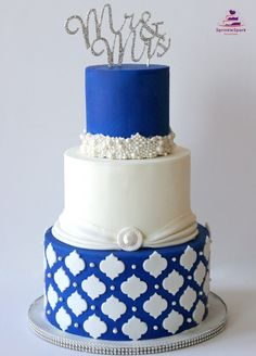 Elegant Wedding Cake in attractive blue and white colors with pearls