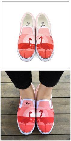 Original Design Flamingo Slip On Canvas Women's Sneakers