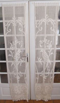 Crochet French Door Curtains Ivory Crochet Door by HatchedinFrance