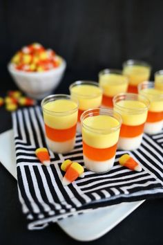 These candy corn Jello-O shots are exactly what your Halloween party needs