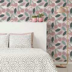 Sweet Cherry Pie Wallpaper in Shell Pink and Olive Green