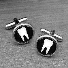 Zahnarzt-Manschettenknöpfe Arzt Zahnarzt weiß von monogramgalley