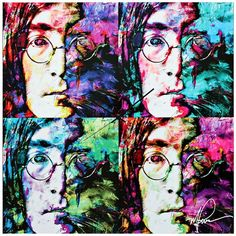 "Lamps Plus John Lennon Beatles Pop 22"" Square Metal Wall Art Clock ($200) ❤ liked on Polyvore featuring home, home decor, clocks, colorful home decor, metal clock, colorful clocks, metal home decor and square clock"