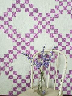 Sweetheart Cottage Vintage Orchid Purple & White Irish Chain QUILT 77x68 Antique Quilts, Vintage Quilts, Purple Houses, Irish Chain Quilt, Quilts For Sale, Lavender Roses, Hand Quilting, Orchids, Cottage