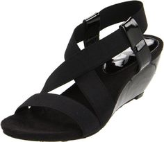 AK Anne Klein Women's Cooler Sandals - nothing could be cooler on warmer days! This stretchy, strappy sandal is a must-have! Elastic stretch bands create a sensational sling that adjusts with your stride and contours to your foot for one comfortable fit! The flexible outsole bends with each step, while the slightly contoured footbed elevates the level of support. Cork-wrapped wedge. http://www.amazon.com/dp/B005LBZBFW/?tag=icypnt-20