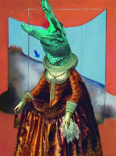 #FrancisBacon #crocodile #renaissance #lady #digital #collage