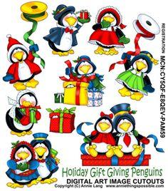 Holiday Gift Giving Penguins Cutouts