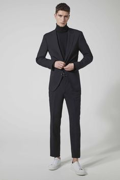 What are men's slim fit suits? Slim fit suits have a blazer with a fitted shoulder, are slim through the chest and are cut a little closer to the waist. Shop for slim fit and fittted mens suits for skinny men. Get the latest styles, brands of fitted men's clothing from Men's Wearhouse. Visit us at www.mensusa.com or call 1-888-784-8872. mens slim fit suits cheap extra slim fit suits mens suits slim fit suits zara mens slim fit suits designer where to buy slim fit suits express mens suits Skinny Fit Suits, Slim Fit Suits, Skinny Guys, Black Suit Jacket, Black Suits, Blazer Suit, Express Mens Suits, Suit Fit Guide, Suits For Sale