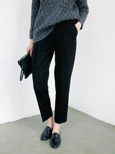 Chunky Slate Grey Knit + Black Trousers + Black Loafers
