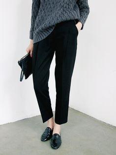 Chunky Slate Grey Knit + Black Trousers + Black Loafers