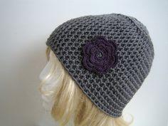 Häkelmützen - HäkelMütze ♥ Jule ♥ grau & violett - ein Designerstück von Annett-NettiStrick bei DaWanda