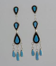Zuni Native American Sterling Silver Blue Opal Chandelier Post Earrings #Unbranded