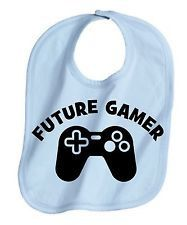 Future gamer video games cool  unisex boy or girl  baby infant bib color choice  blue pink black white shower gift idea on Etsy, $6.49