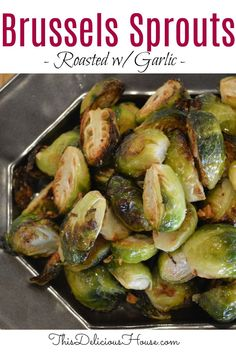 One bite and you'll see that this is the tastiest Brussels sprouts recipe ever! Roasted with garlic and crushed red pepper, this easy and healthy side dish can't be beat! #brusselssprouts #roastedbrusselsprouts Easy Crowd Meals, Easy Brunch Recipes, Easy Salad Recipes, Roast Recipes, Side Recipes, Easy Healthy Recipes, Easy Meals, Brunch Ideas, Healthy Side Dishes