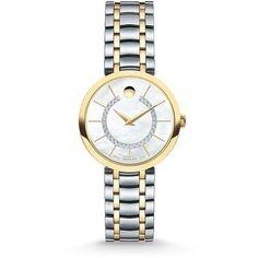 Movado 1881 Automatic Diamond, Mother-Of-Pearl & Two-Tone Stainless... (£1,535) ❤ liked on Polyvore featuring jewelry, watches, fine jewelry - fine watches, movado watches, gold-tone watches, two tone bracelet watch, stainless steel watch bracelet and diamond fine jewelry