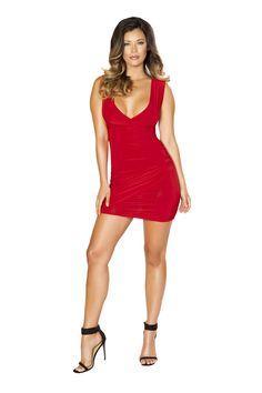 728a24dce8 Sexy Red Sleeveless V-Neck Short Bodycon Clubwear Dress  bikiniswimwear   bikinis  swimwear