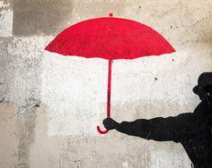 Paris Graffiti Print The Red Umbrella Red by TheParisPrintShop