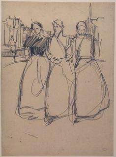 Studie voor 'Meiden op de gracht' Isaac Israels, 1894