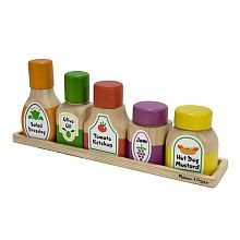 Melissa Doug Deluxe Wooden Magnetic Kitchen Bottle Ortment