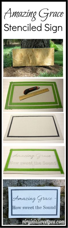 Make an Amazing Grace stenciled sign using this easy to follow tutorial.  virginiasweetpea.com