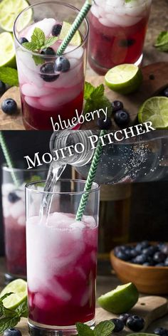 My blueberry mojito pitcher is a fun and easy summer cocktail full of fresh blue. My blueberry mojito pitcher is a fun and easy summer cocktail full of fresh blueberries, mint, lime Cocktail Ginger Ale, Blueberry Cocktail, Blueberry Mojito, Blueberry Vodka Drinks, Mojito Pitcher, Pitcher Drinks, Easy Summer Cocktails, Alcohol Drink Recipes, Food For A Crowd