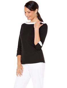 Classic boatneck with contrast trim and lace up details | Newport Beach Tee