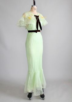 1930s Mint Green Organdy Party Dress and Capelet.