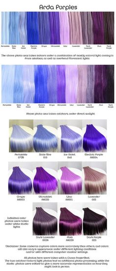 Arda purples, wig fiber color pallette.