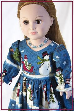Christmas Dress fits like American Girl Doll Clothes for 18 inch Dolls w Accessories, Necklace, Shoes, Boots, Snowmen, Sleigh Rides & More