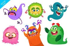 Cartoon monsters set  #monster #funny