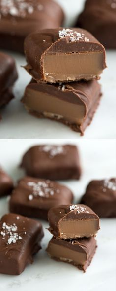 Soft buttery caramels are dipped in creamy chocolate and topped with a little salt for the perfect treat. Our chocolate covered caramels recipe is easy-to-follow and has a recipe video to make things extra easy. | from inspiredtaste.net @inspiredtaste