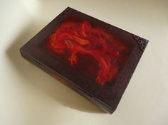 Red fiery. Wooden book-box. Wooden jewelry box. by VesArtAtelier