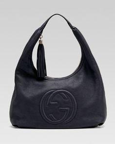 V1CR8 Gucci Soho Leather Hobo, Blue