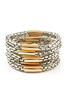 love the mixed metal textured layered bracelet look