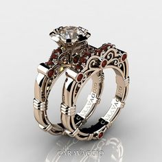 Art Masters Caravaggio 14K Rose Gold 1.0 Ct Champagne and Brown Diamond Engagement Ring Wedding Band Set R623S-14KRGBRDCHD
