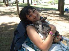 Julianne Mitchell and her rabbit, Gabriel's Inferno
