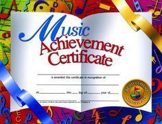 Music Achievement Certificate - 30 Pack - $8.99