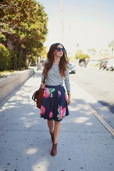 Feminine florals with classic stripes. Love the pattern mixing!