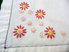 Vintage cotton ecru Window / Door Panel Decor floral by Retroom