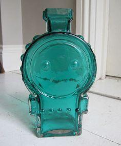 Vintage 60s Riihimaki Scandinavian retro glass vase Helena Tynell Ahkeraliisa