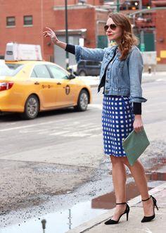 NYC-yellow-cab-topshop-gingham-skirt-sole-society-heels-denim-jacket