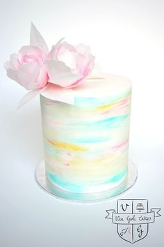 Double Barrel watercolour cake with wafer paper flowers - by Van Goh Cakes Buttercream Cake, Fondant Cakes, Cupcake Cakes, Gorgeous Cakes, Pretty Cakes, Food Design, Double Barrel Cake, Birthday Cakes For Women, Cake Birthday